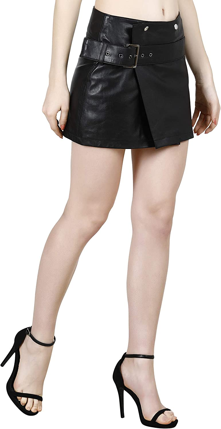 KIKA 100% Real Lamb Leather Comfortable Casual Cum Formal Wrap Around Skirt with Belt