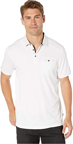 ad2e37296 Ted Baker. Doller Short Sleeve Woven Collar Polo. $118.75. New. White