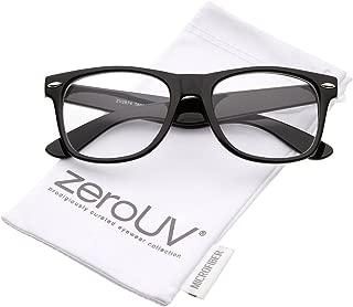 Retro Wide Arm Square Clear Lens Horn Rimmed Eyeglasses 54mm