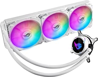 ASUS ROG Strix LC 360 White Edition RGB all-in-one liquid CPU cooler with Aura Sync, and triple ROG 120mm addressable RGB ...