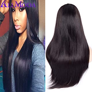 Ali Moda Brazilian Silky Straight Hair 360 Lace Frontal Wigs 130% Density Pre-Plucked Virgin Human Hair with Baby Hair Natural Color 20 inch