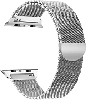LONUO Compatible for Apple Watch Band 42mm 44mm, Stainless Steel Sport Wristband Loop Replacement with Strong Magnetic Closure Strap for iWatch Series1,2,3,4