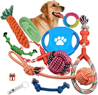 Dog Rope Toys 10 Pack Set Pet Puppy Teething Chew Rope...