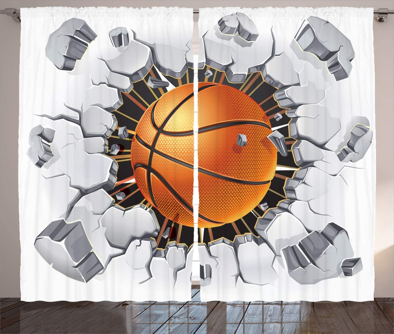 Trust Sports Brand new Curtains Basketball and Old Wall Damage Concrete Plaster