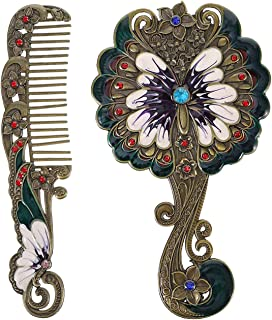 Antique Mirror Comb Set, Vintage Handheld Makeup Mirror with Handle Metal Butterfly Embossed Comb Travel Portable Mirror C...