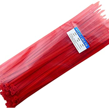 "12"" Heavy Duty Self Locking Nylon Cable Zip Ties,100 Pcs (Red)"