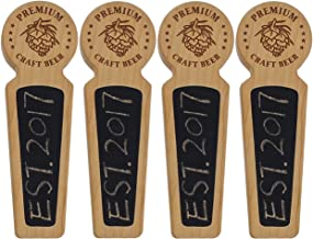 Fanfoobi Set Of 4-40 Wood tap handle for kegerator, Chalkboard beer keg tap handle with laser engraved pine nuts logo, Premium Craft Beer, 8.3 INCH Long Cherry Wood, Craft beer gifts …