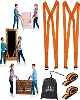 Moving and Lifting Straps with Handy Storage Bag - 2-Person Movers Heavy-Duty System Shoulder for Furniture, Appliances Carrying - 800 lbs Capacity
