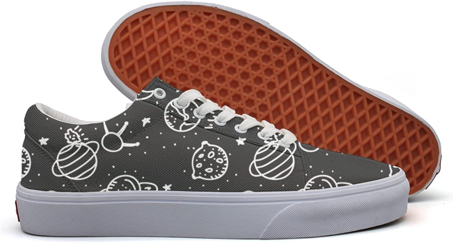 Cosmos Planet Space Moon Star-01 Womens Printed Canvas Lace Up Dhoes Low Top Hip Hop Sneaker For Women's