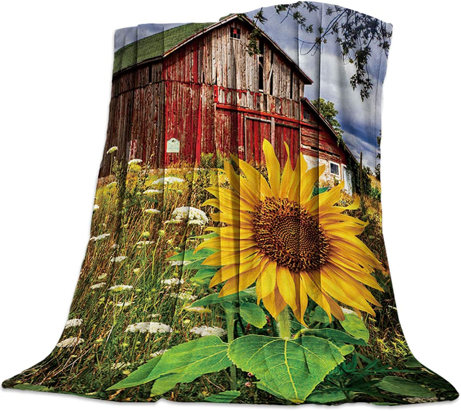 Luck Sky Weighted Blanket Country Blankets, American Farm House Sunflower Garden Flannel Blanket for Kids Baby Men Women Home Office Cars, 50 x60