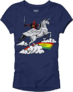 Marvel Deadpool Funny Humor Pun Unicorn Avengers X-Men Dead Pool Glory Graphic Women's Juniors Slim Fit Adult T-Shirt Tee