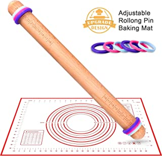 Rolling Pin With Thickness Rings And Silicone Baking Mat Set,K KERNOWO 16''x1.4'' Adjustable Wood Rolling Pins,Dough Roller and Pastry Mat Kits for Baking, Fondant,Pizza, Cake Pie,Cookie
