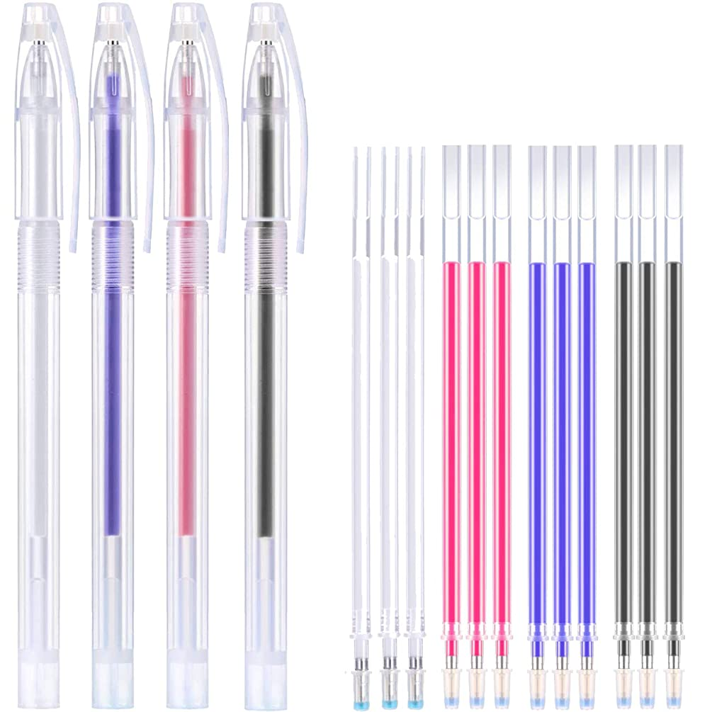 Heat Erasable Fabric Marking Pens with 16 Refills for Tailors Sewing, and Quilting Dressmaking, 4 Colors Heat Erasable Pens for Various Colors of Fabrics (16)