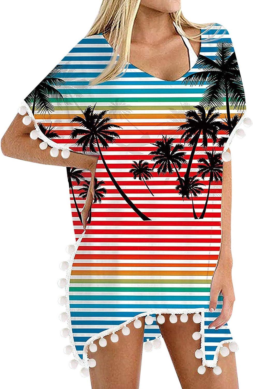 Gerichy Womens Summer Casual Dresses, Womens Swimsuits Beach Blouse Trim Tassels Loose Blouse Swimwear Bikini Cover Ups Red