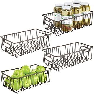 mDesign panier de rangement pour cuisine ou garde-manger (lot de 4) – corbeille en métal pour épices, condiments, oignons,...