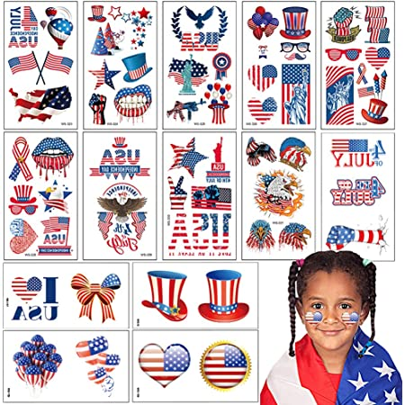 80 PCS 4th of July Patriotic Temporary Tattoos. 20 Sheets USA Tattoos for Independence Day Party Supplies, Memorial Day Party Decorations. American Flag Red White and Blue Stickers. Removable.