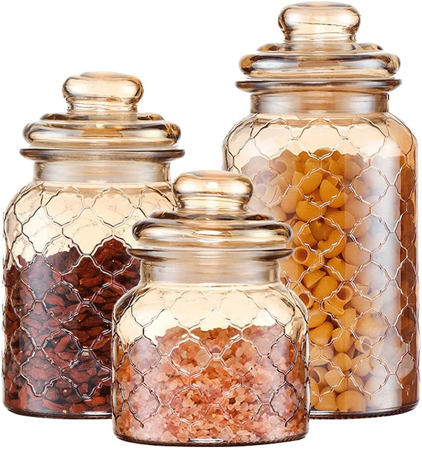 Translated ZANZAN Grid Design Canister Set 3-Piece Jar Amber Glass with Air Outlet sale feature