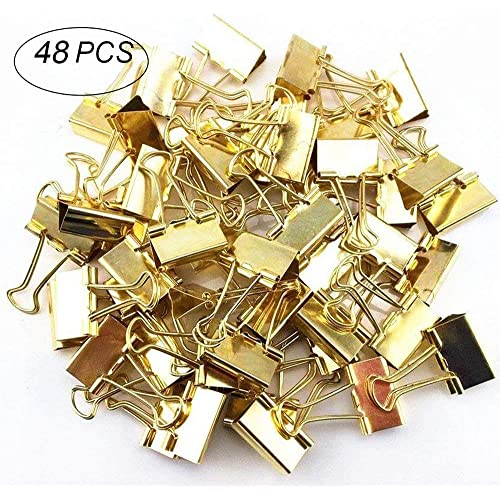 48 PCS Metal Binder Clips, Foldback Bulldog Clips, Multifunction Gold Paper Binder Clips for Closing Plastic Bags, Office Organize, Securing Documents