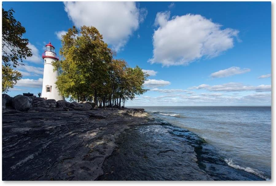 Branded Shipping included goods Marblehead Lighthouse Ohio by Kurt 16x24-Inch Canvas Shaffer Wa