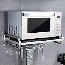Microwave Oven Racks • Wall-Mounted Oven Trays • Household Kitchen Storage Brackets - with 6 Hooks for Kitchen, Storage