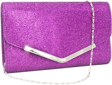 Alifyt Damen-Clutch mit Glitzer-Umschlag für Hochzeit, Abendveranstaltung, Handtasche, Kette