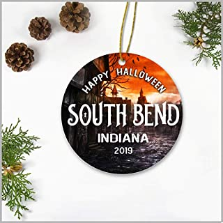 Halloween Christmas Tree Ornaments 3 Inch - Happy Halloween South Bend Indiana IN 2019 - Happy Halloween Ceramic Ornamentfor Holiday Anniversary Home Decoration