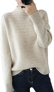 LZJDS Jersey De Lana para Mujer Color Liso Jersey De Lana Suelta Camiseta Interior para Mujer,Blanco,L