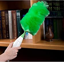 SHOPPOSTREET Hand-Held Grabbing and Holding dust from Home and Car, Electric Feather Spin Duster for Cleaning Furniture, Electronics and Blinds Dust Cleaning Brush Set (Green)