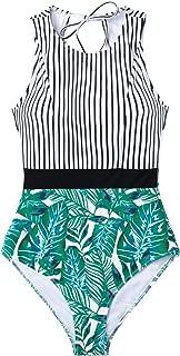 Women's Black Striped Leafy One Piece Swimsuit