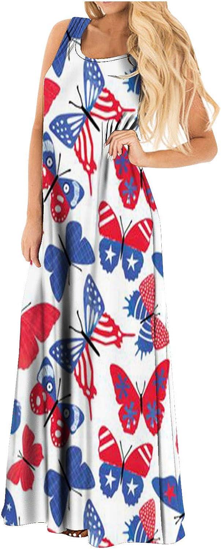 July 4th Women's Dress, American Flag Printed Casual Sleeveless Long Maxi Summer T Shirt Dresses Tank Sundress