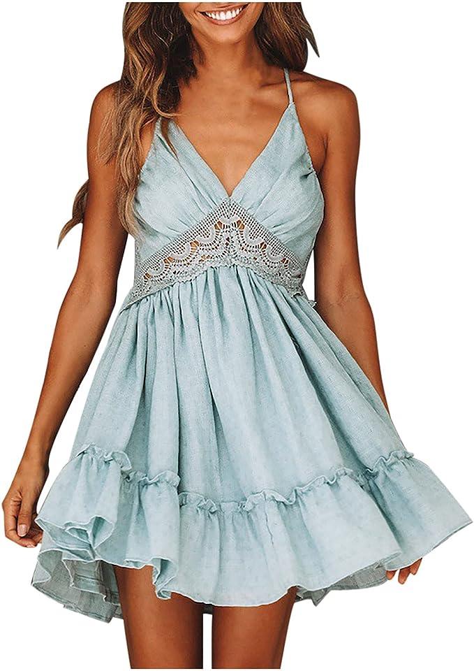 Sommerkleid Damen Knielang, Sexy Rückenfreies Kleid V Ausschnitt Abendkleider Elegant für Hochzeit Strandkleid Damen Weiß Spitze Urlaub Kleider Sommer Cocktailkleid