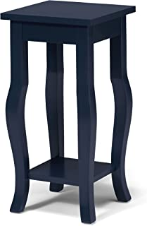 Kate and Laurel Lillian Wood Pedestal End Table Curved Legs with Shelf, Navy Blue
