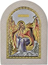 Prophet Elijah - 5.9 x 8.3 in (15 x 21 cm) - Byzantine silver plated hand made icon with gold & colors on White wood - Mounting point and stand included