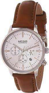ساعة كوارتز نسائية من ميجر بشاشة عرض كرونوغراف وسوار جلد - طراز 2011L-1
