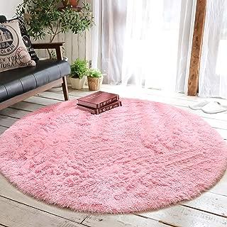 Junovo Round Fluffy Soft Area Rugs for Kids Girls Room Princess Castle Plush Shaggy Carpet Baby Room Decor, Diameter 4ft Pink