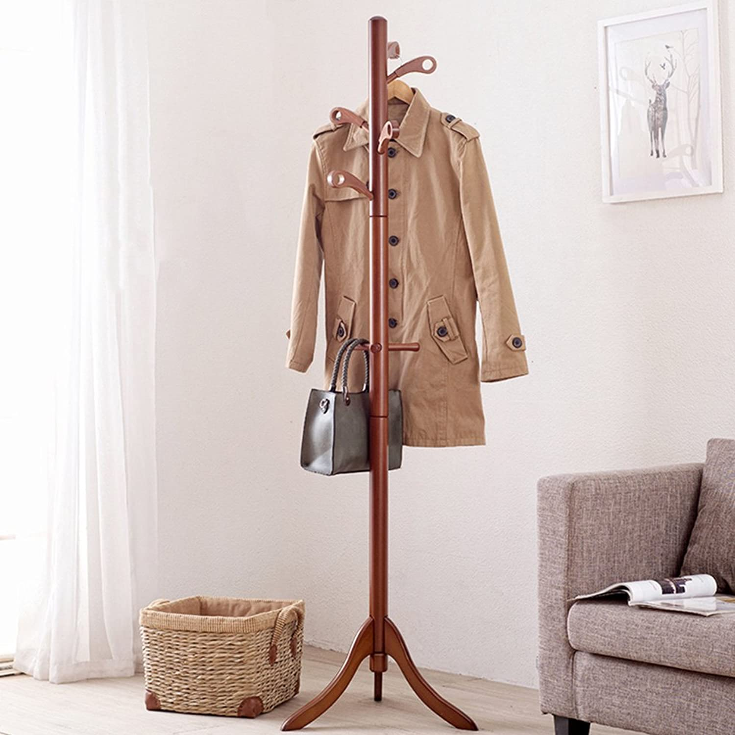 HAKN Coat Stand, Coat and Hat Rack European Style Multifunction Beech Simple Stand Storage Coat Rack for Garage Foyer Office Closet (color   Brown)
