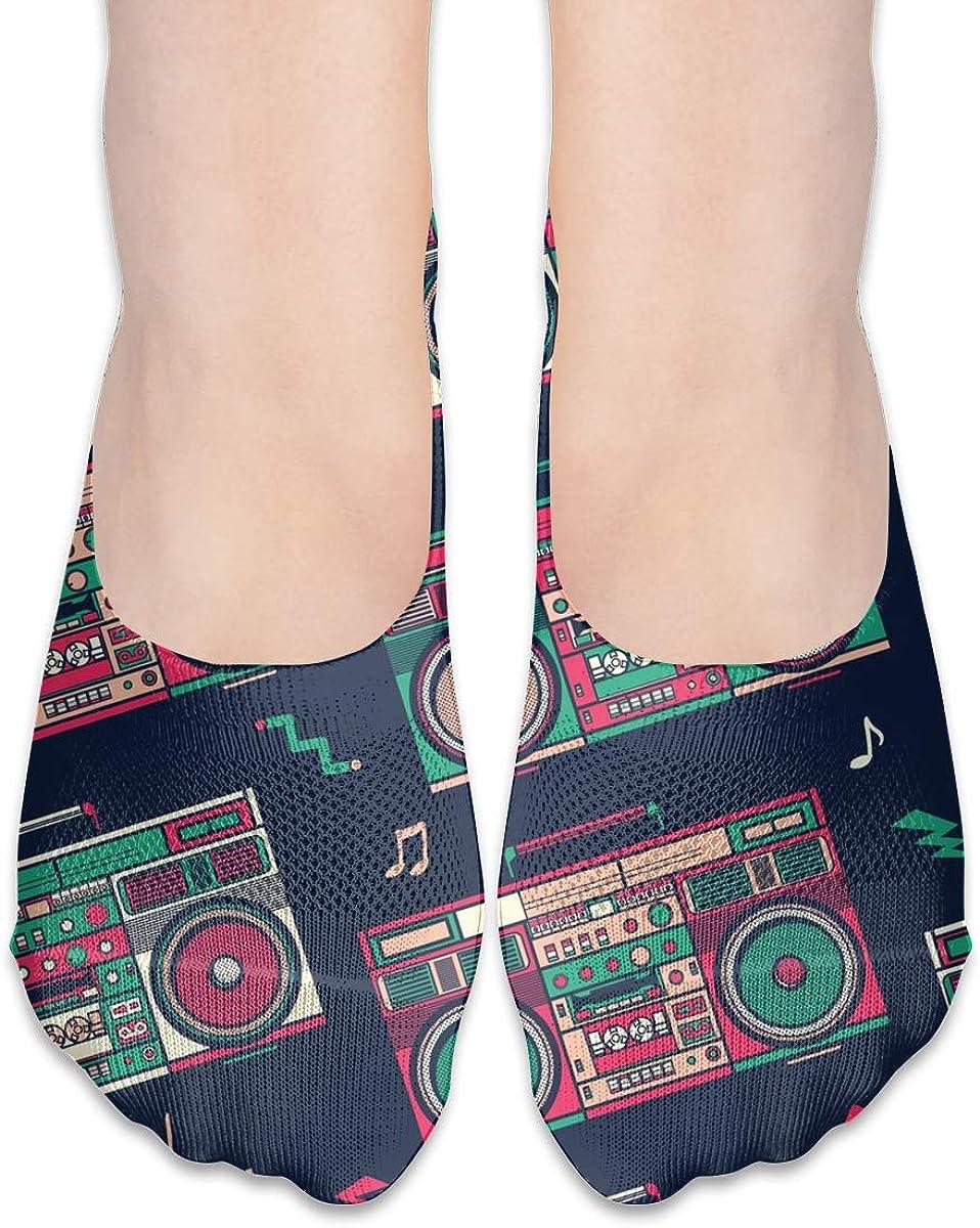 No Show Socks Women Men For Retro Boombox Radio Flats Cotton Ultra Low Cut Liner Socks Non Slip
