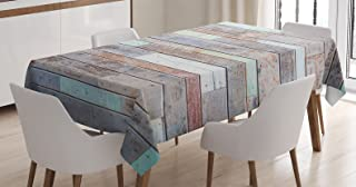 Ambesonne Rustic Home Decor Tablecloth, Retro Old Fashion Lumber Wall Boarding Building Panel Structure, Dining Room Kitchen Rectangular Table Cover, 52W X 70L inches, Brown Light Green