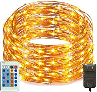 RcStarry(TM){300LED 99Ft}Dimmable String Lights,300 LED Starry String Lights on 99Ft Copper Wire + Power Adapter with Multi-Function Remote Controller for Christmas, Weddings, Parties(Warm White)