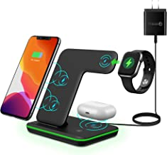MiromTec/Upgraded/Qi All Wireless Charging Stand, Station for iWatch 6 5 4 3 2, Airpods, Qi Enabled Phones (with QC 3.0 Ad...