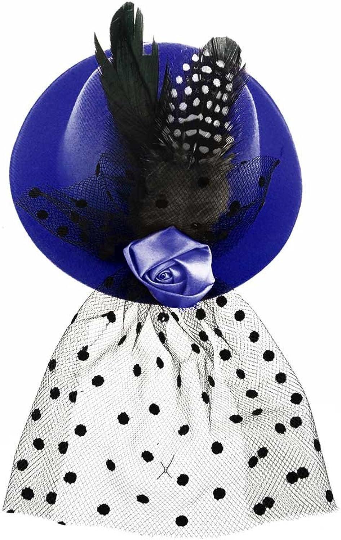 BAOBAO Fascinator Women Flower Feather Net Veils Hair Clip Mini Top Hat Wedding Tea Party