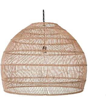 KOUBOO 1050101 Open Weave Cane Rib Bell Hanging Ceiling Lamp, One Size, Wheat