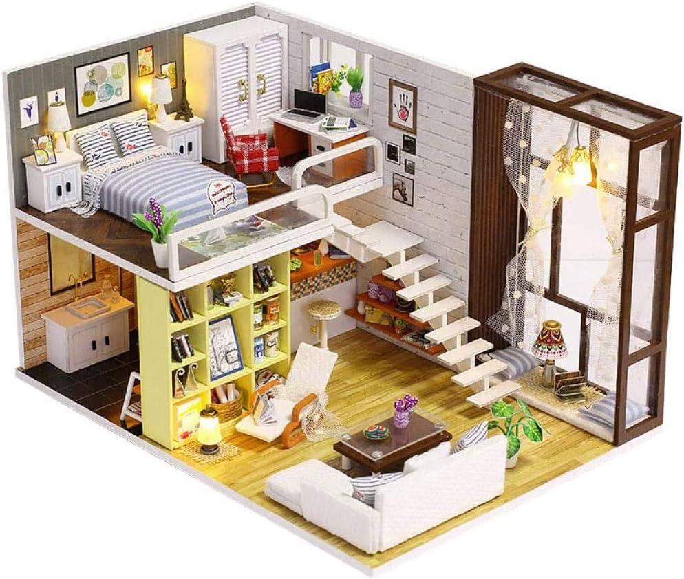 FGH QPLKKMOI Dollhouse Kit Furniture Wooden 2021 Award-winning store autumn and winter new Miniature Hous Doll