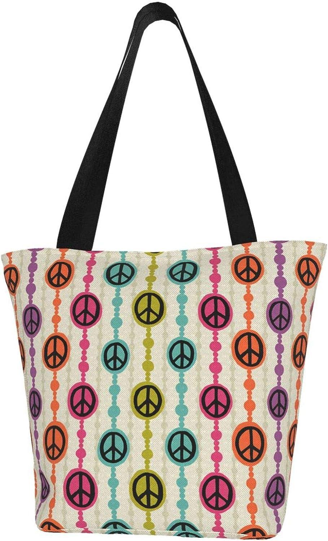 Peace Sign Orange Pink Green Themed Printed Women Canvas Handbag Zipper Shoulder Bag Work Booksbag Tote Purse Leisure Hobo Bag For Shopping