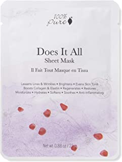 100% PURE Sheet Mask: Does It All (1 PC), Full Face Sheet Mask, Made with Retinol, Hyaluronic Acid, Brightens Skin, Restores Damaged Skin, Sustainably Made - Single Mask
