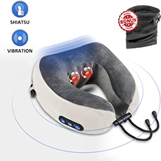 Travel Neck Pillow Massagers for Pain Relief, Shiatsu & Vibrating Plane Cordless Neck Pillows, U-shaped Memory Foam Kneading Vibration Pillow for Airplane,Train,Car Travel – Head & Neck Support Pollow