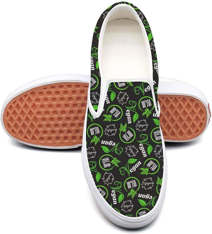 The Vegan logo green black Plimsolls Women for Women slip on Lightweight On Running shoes