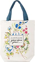 Grace Upon Grace Fashion Canvas Tote Bag in White - John 1:16