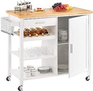kealive Kitchen Island on Wheels White Rolling Kitchen Island with Storage Wood Top Wine Shelf Cabinet Handle Rack Drawer, Home Style 41.3L x 18.9W x 35H