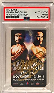 2011 MGM Hotel Key Manny Pacquiao Pacman Signed Trading Card Slabbed - PSA/DNA Certified - Autographed Boxing Cards